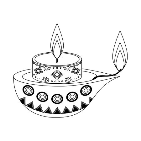 lit candle with indian lamp icon cartoon isolated vector illustration graphic design