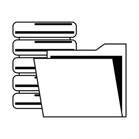 documents files system database archives cartoon vector illustration graphic design Çizim