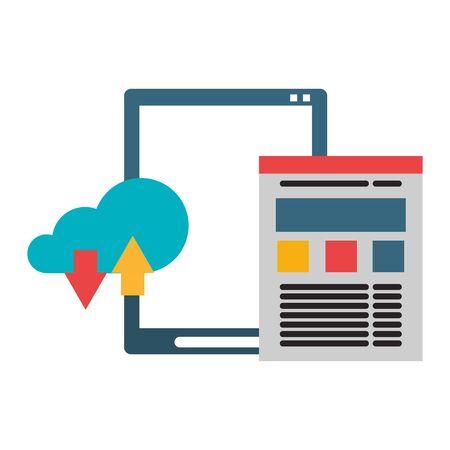 Cloud computing technology tablet and website symbols vector illustration graphic design