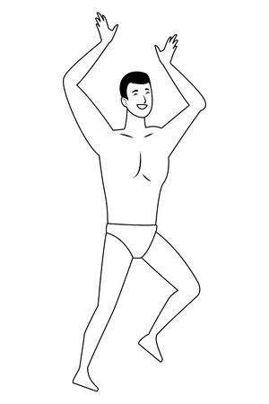 Young man dancing in summer time in swimsuit vector illustration graphic design Illustration