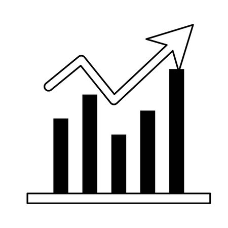 Statistics graph growing business symbol in black and white vector illustration