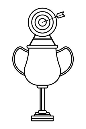 trophy cup award with target and a arrow in the middle icon cartoon in black and white vector illustration graphic design