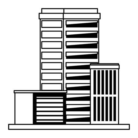 urban buildings construction properties cartoon vector illustration graphic design Illusztráció