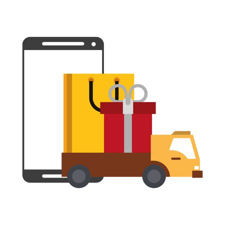 Online shopping and payment smartphone and truck with shopping bag and gift box symbols vector illustration graphic design Illustration