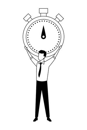 business man lifting a chronometer avatar cartoon character in black and white vector illustration graphic design