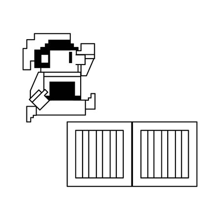 Videogame elf character pixelated jumping chest isolated vector illustration graphic design