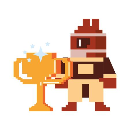 Videogame pixelated character with trophy cup vector illustration graphic design Illusztráció