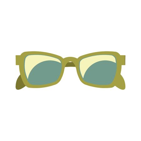 green sunglasses for summer holidays and vintage retro isolated Vector design illustration