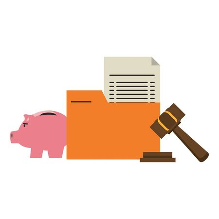 Money piggy and folder iwth document and gavel symbols vector illustration