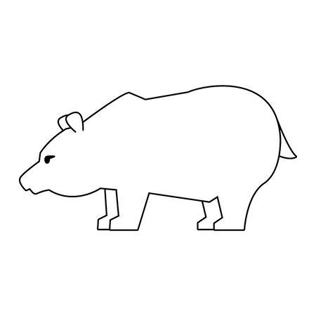 Bear stock market invest decrease symbol in black and white vector illustration Çizim