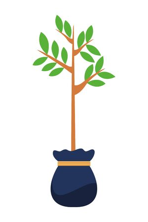 small tree with leaves growing from grow bag icon cartoon isolated vector illustration graphic design
