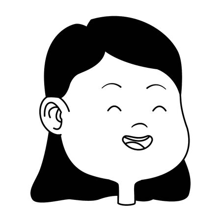 Beautiful young girl smiling face cartoon ,vector illustration graphic design. Banque d'images - 129328891