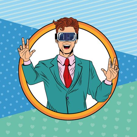 man with virtual reality headset avatar cartoon character round icon pop art background vector illustration graphic design Illusztráció