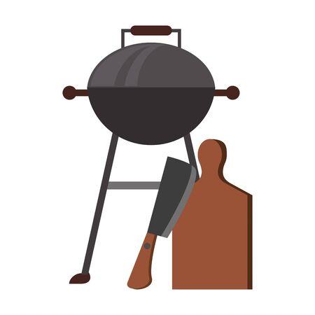 Barbecue food grill with menu and fork vector illustration graphic design Illusztráció