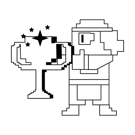 Videogame pixelated gangster character with trophy cup isolated vector illustration graphic design
