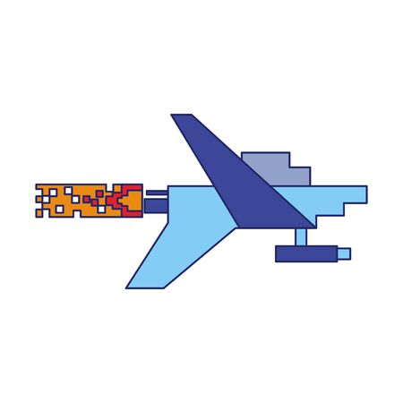 Videogame pixelated spaceship taking off vector illustration graphic design