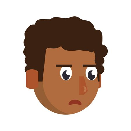 Man afro face angry head character cartoon vector illustration graphic design