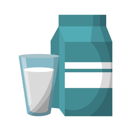 Milk box and glass cup cartoons isolated vector illustration graphic design