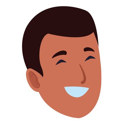 Young man smiling face cartoon