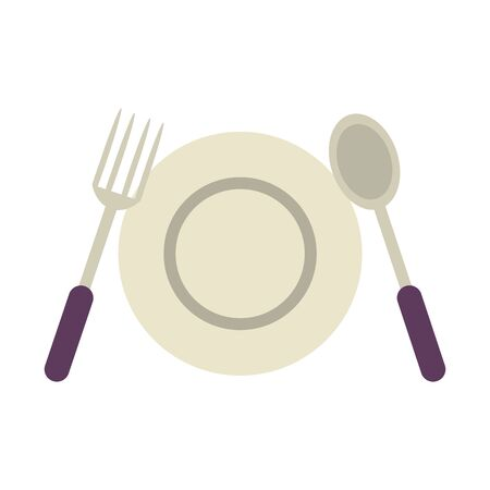 isolated fork, plate and spoon symbols vector illustration graphic design
