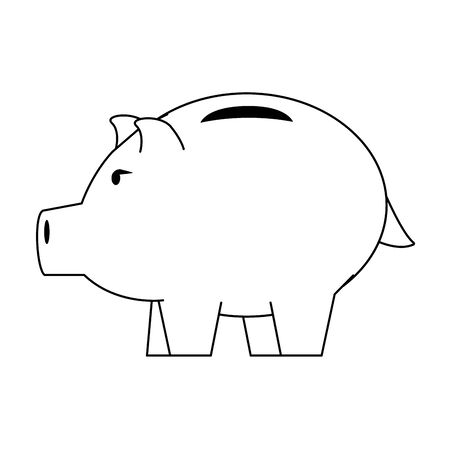 Money piggy saving money symbol isolated in black and white vector illustration