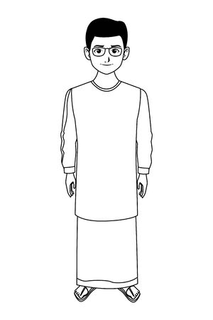 indian young boy with glasses wearing traditional hindu clothes profile picture avatar cartoon character portrait in black and white vector illustration graphic design Banque d'images - 129311564