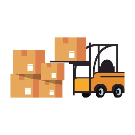 Forklift loading delivery boxes isolated vector illustration