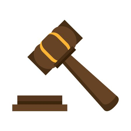 Justice gavel hammer symbol isolated vector illustration