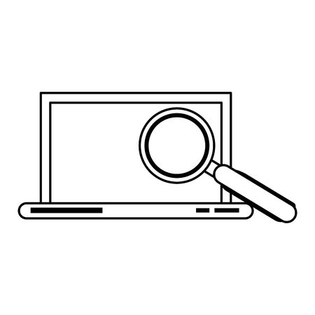 laptop mobile technology hardware looking for information and analyzing system cartoon vector illustration graphic design