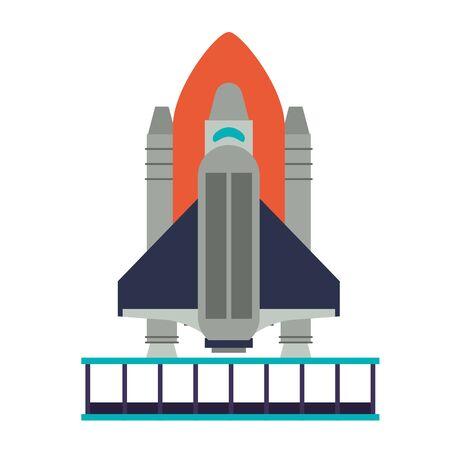 Spaceship on take off plataform symbol isolated vector illustration graphic design Ilustracja