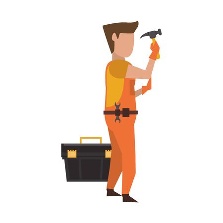 Contruction worker using hammer and toolbox vector illustration graphic design Stock Vector - 129330941