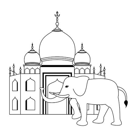 indian building monuments with taj mahal and a gray elephant icon cartoon vector illustration graphic design