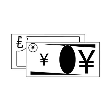 Money yen and euro cash billets isolated in black and white vector illustration Stok Fotoğraf - 129330965