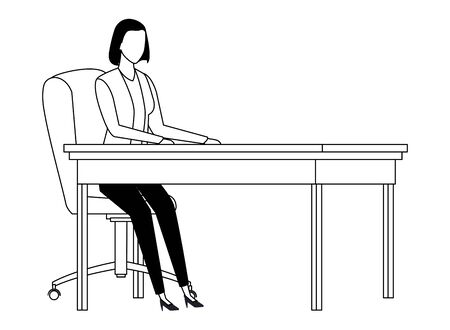 business woman avatar cartoon chararcter sitting on a desk in black and white vector illustration graphic design Çizim