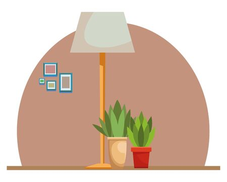 House light lamp and plant pots home building interior scenery ,vector illustration graphic design. Stock Illustratie
