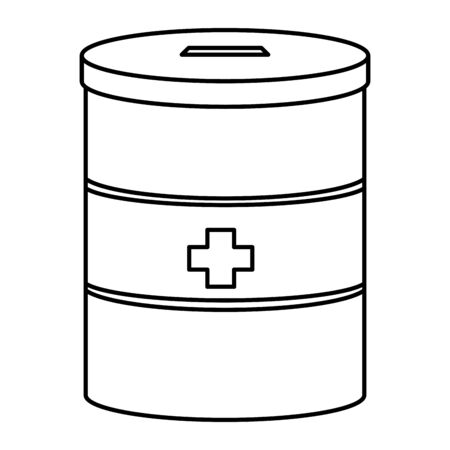 saving jar to store donation for medical support with lid and a cross on middle black and white vector illustration graphic design Ilustração