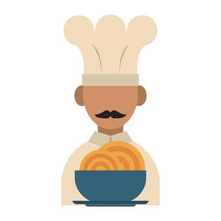 avatar de chef de cuisine et de nourriture de restaurant et un bol avec des dessins animés d'icônes de spaguetti vector illustration graphic design