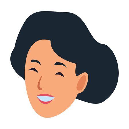 Woman face smiling character cartoon Illustration