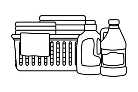 laundry wash and cleaning detergent bottle, bleach and folded clothes in a cleanlines basket icon cartoon in black and white vector illustration graphic design