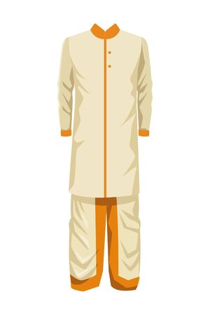 indian man dress traditional hindu clothes with long shirt icon cartoon vector illustration graphic design