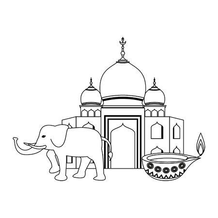 indian building monuments with taj mahal, gray elephant and lamp icon cartoon vector illustration graphic design Illustration