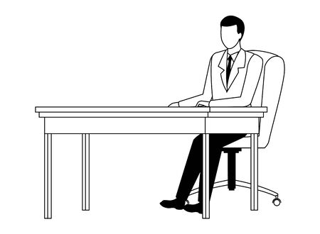 business man avatar cartoon chararcter sitting on a desk in black and white vector illustration graphic design