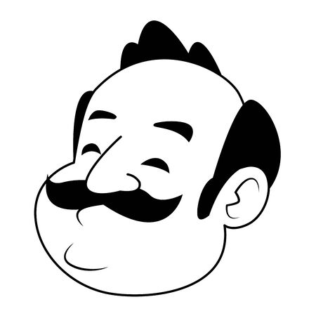 man with moustache, bald and big nose in black and white vector illustration graphic design Banque d'images - 129365376