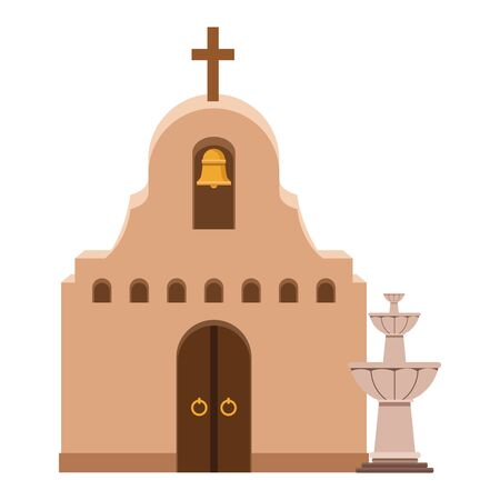 mexican traditional culture traditional mexican church and water fountain icon cartoon vector illustration graphic design 写真素材 - 129322672