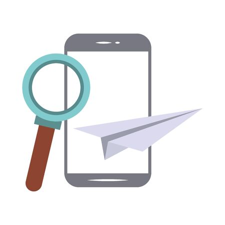 elearning and education smartphone and magnifying glass with paper plane symbols vector illustration graphic design