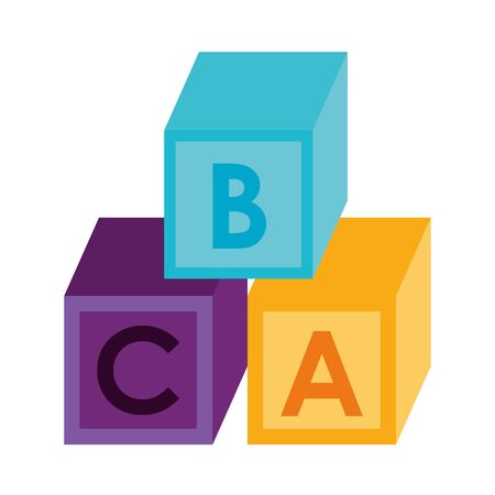 Puzzle cubes with alphabet cartoon vector illustration graphic design