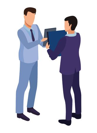 technology software businessmen with diary symbol vector illustration graphic design Çizim