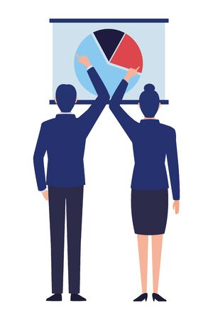 business business people businessman and businesswoman back view pointing a data chart avatar cartoon character vector illustration graphic design