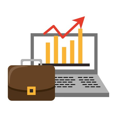 Laptop with statistics growing and briefcase symbols vector illustration Illustration