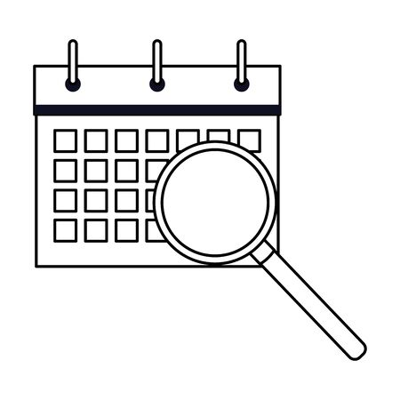 calendar schedule flipchart with magnifying glass icon cartoon in black and white vector illustration graphic design Zdjęcie Seryjne - 129319019